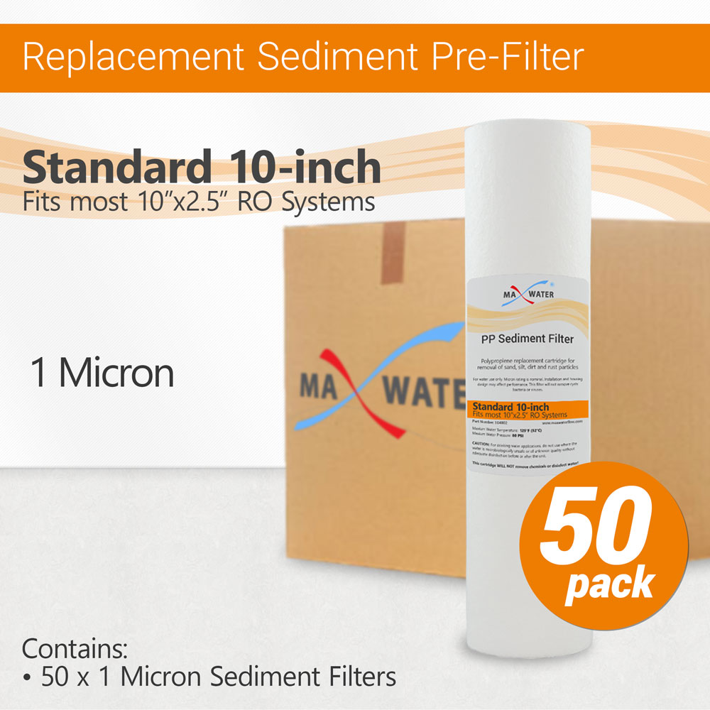 """50 x 1 micron PP sediment cartridge particle water filter standard size 10/"""""""