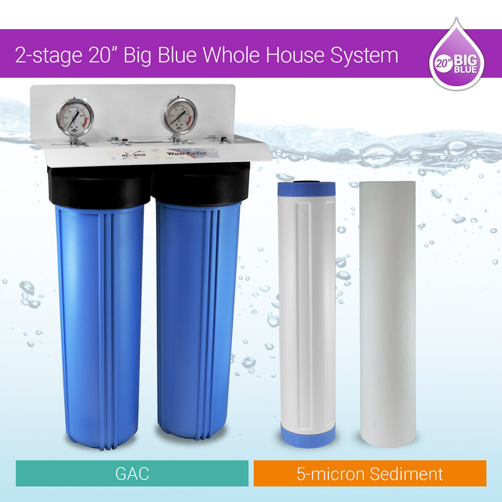 """20/""""x4.5/"""" Big Blue Two Stage Clear Whole House Water Filter System 3//4/"""" ports"""